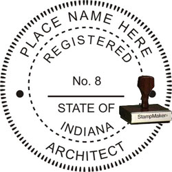 Architect Seal - Wood Stamp - Indiana