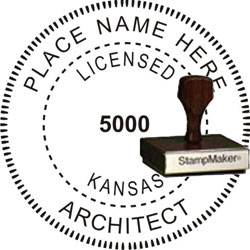 Architect Seal - Wood Stamp - Kansas