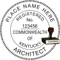 Architect Seal - Wood Stamp - Kentucky