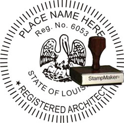 Architect Seal - Wood Stamp - Louisiana