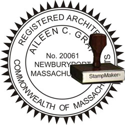 Architect Seal - Wood Stamp - Massachusetts