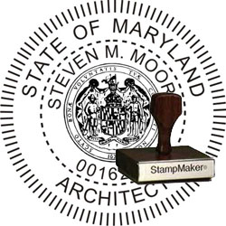 Architect Seal - Wood Stamp - Maryland