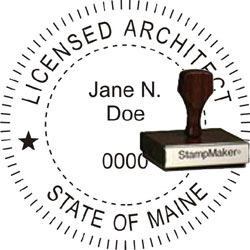 Architect Seal - Wood Stamp - Maine
