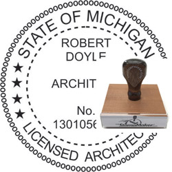Architect Seal - Wood Stamp - Michigan