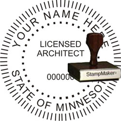 Architect Seal - Wood Stamp - Minnesota