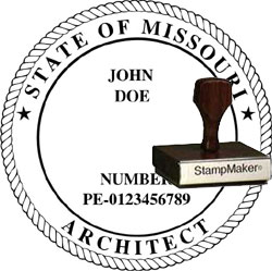 Architect Seal - Wood Stamp - Missouri