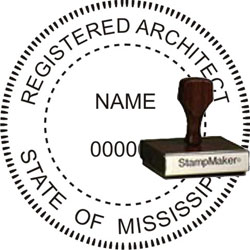 Architect Seal - Wood Stamp - Mississippi