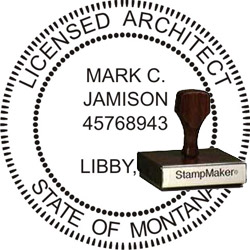 Architect Seal - Wood Stamp - Montana