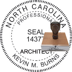 Architect Seal - Wood Stamp - North Carolina