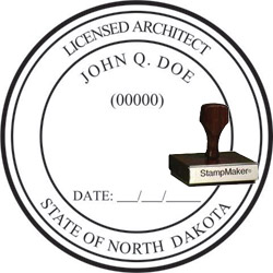 Architect Seal - Wood Stamp - North Dakota
