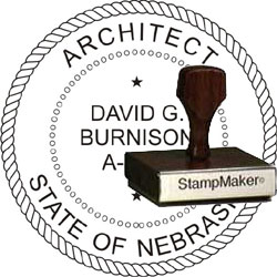 Architect Seal - Wood Stamp - Nebraska