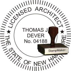 Architect Seal - Wood Stamp - New Hampshire