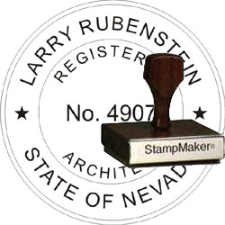 Architect Seal - Wood Stamp - Nevada