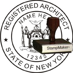 Architect Seal - Wood Stamp - New York