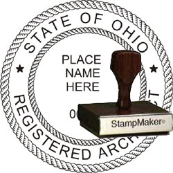 Architect Seal - Wood Stamp - Ohio
