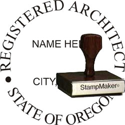 Architect Seal - Wood Stamp - Oregon