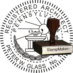Architect Seal - Wood Stamp - Pennsylvania