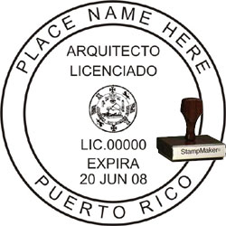 Architect Seal - Wood Stamp - Puerto Rico
