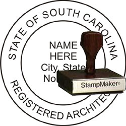 Architect Seal - Wood Stamp - South Carolina