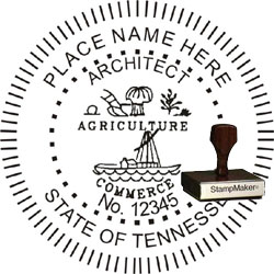 Architect Seal - Wood Stamp - Tennessee