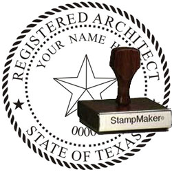 Architect Seal - Wood Stamp - Texas