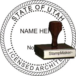 Architect Seal - Wood Stamp - Utah