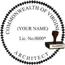 Architect Seal - Wood Stamp - Virginia