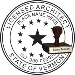 Architect Seal - Wood Stamp - Vermont