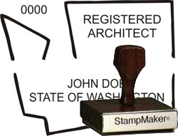 Architect Seal - Wood Stamp - Washington