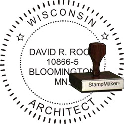 Architect Seal - Wood Stamp - Wisconsin