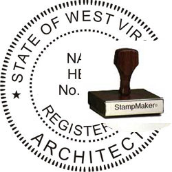 Architect Seal - Wood Stamp - West Virginia