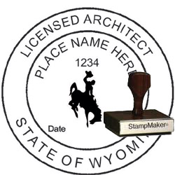 Architect Seal - Wood Stamp - Wyoming