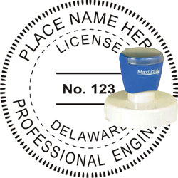 Engineer Seal - Pre Inked Stamp - Delaware