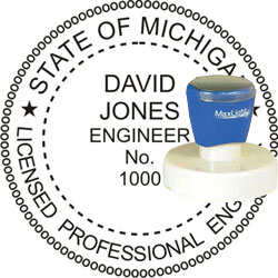Engineer Seal - Pre Inked Stamp - Michigan