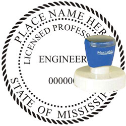 Engineer Seal - Pre Inked Stamp - Mississippi