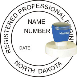 Engineer Seal - Pre Inked Stamp - North Dakota