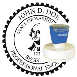 Engineer Seal - Pre Inked Stamp - Washington