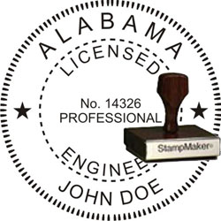 Engineer Seal - Wood Stamp - Alabama