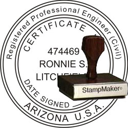Engineer Seal - Wood Stamp - Arizona