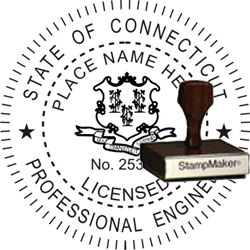 Engineer Seal - Wood Stamp - Connecticut