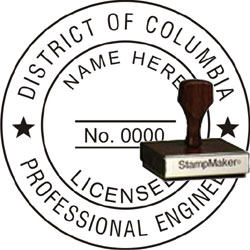 Engineer Seal - Wood Stamp - Dist of Columbia