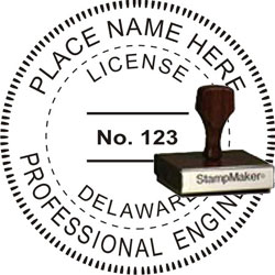 Engineer Seal - Wood Stamp - Delaware