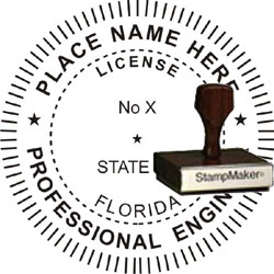Engineer Seal - Wood Stamp - Florida