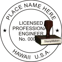 Engineer Seal - Wood Stamp - Hawaii