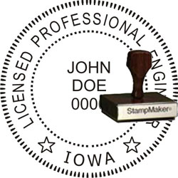 Engineer Seal - Wood Stamp - Iowa