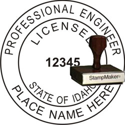 Engineer Seal - Wood Stamp - Idaho