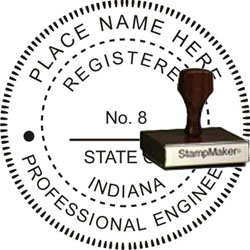 Engineer Seal - Wood Stamp - Indiana