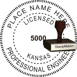 Engineer Seal - Wood Stamp - Kansas