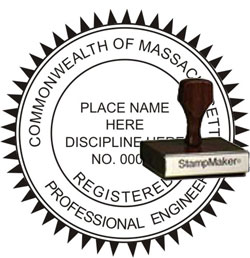 Engineer Seal - Wood Stamp - Massachusetts