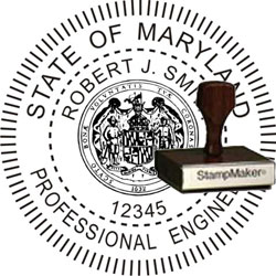 Engineer Seal - Wood Stamp - Maryland